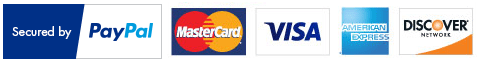 Secured by PayPal. Accepting MasterCard, Visa, American Express, and Discover.